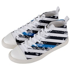 Usa Flag The Thin Blue Line I Back The Blue Usa Flag Grunge On White Background Men s Mid Top Canvas Sneakers by snek