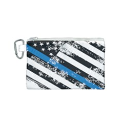 Usa Flag The Thin Blue Line I Back The Blue Usa Flag Grunge On White Background Canvas Cosmetic Bag (small)
