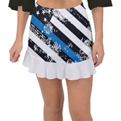 Usa Flag The Thin Blue Line I Back The Blue Usa Flag Grunge On White Background Fishtail Mini Chiffon Skirt by snek