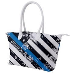 Usa Flag The Thin Blue Line I Back The Blue Usa Flag Grunge On White Background Canvas Shoulder Bag by snek