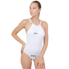 Background Pattern Structure High Neck One Piece Swimsuit