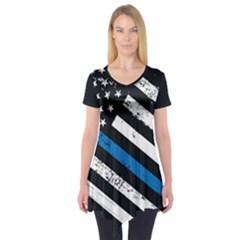 Usa Flag The Thin Blue Line I Back The Blue Usa Flag Grunge On Black Background Short Sleeve Tunic  by snek