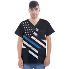Usa Flag The Thin Blue Line I Back The Blue Usa Flag Grunge On Black Background Men s V Neck Scrub Top