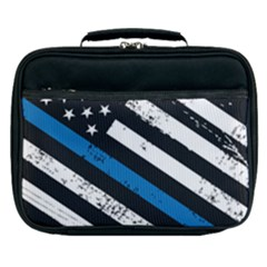 Usa Flag The Thin Blue Line I Back The Blue Usa Flag Grunge On Black Background Lunch Bag