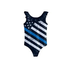 Usa Flag The Thin Blue Line I Back The Blue Usa Flag Grunge On Black Background Kids  Frill Swimsuit by snek