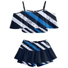 Usa Flag The Thin Blue Line I Back The Blue Usa Flag Grunge On Black Background Kids  Off Shoulder Skirt Bikini by snek