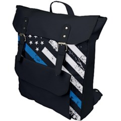 Usa Flag The Thin Blue Line I Back The Blue Usa Flag Grunge On Black Background Buckle Up Backpack by snek