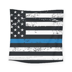 I Back The Blue The Thin Blue Line With Grunge Us Flag Square Tapestry (small) by snek