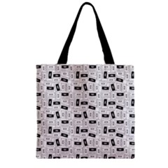 Tape Cassette 80s Retro Genx Pattern Black And White Zipper Grocery Tote Bag by snek