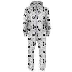 Tape Cassette 80s Retro Genx Pattern Black And White Hooded Jumpsuit (men)