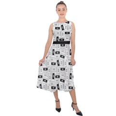 Tape Cassette 80s Retro Genx Pattern Black And White Midi Tie Back Chiffon Dress