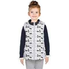 Tape Cassette 80s Retro Genx Pattern Black And White Kid s Hooded Puffer Vest by genx