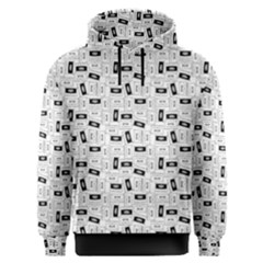 Tape Cassette 80s Retro Genx Pattern Black And White Men s Overhead Hoodie by snek