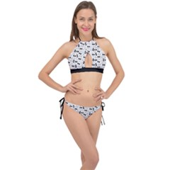 Tape Cassette 80s Retro Genx Pattern Black And White Cross Front Halter Bikini Set by genx