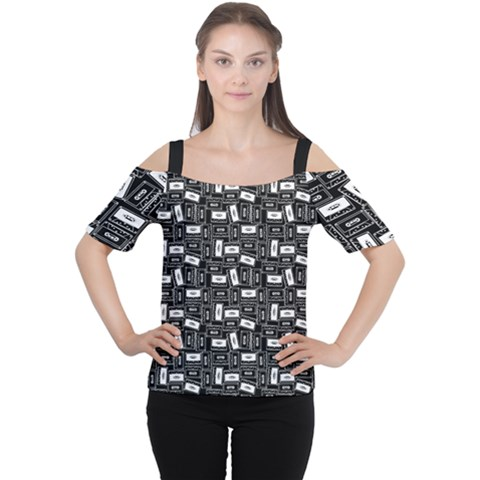 Tape Cassette 80s Retro Genx Pattern Black And White Cutout Shoulder Tee by genx