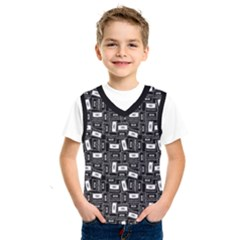 Tape Cassette 80s Retro Genx Pattern Black And White Kids  Sportswear