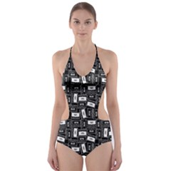 Tape Cassette 80s Retro Genx Pattern Black And White Cut Out One Piece Swimsuit