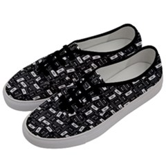 Tape Cassette 80s Retro Genx Pattern Black And White Men s Classic Low Top Sneakers by genx