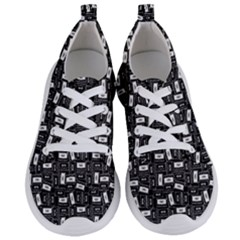 Tape Cassette 80s Retro Genx Pattern Black And White Women s Lightweight Sports Shoes