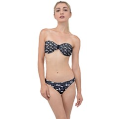 Tape Cassette 80s Retro Genx Pattern Black And White Classic Bandeau Bikini Set