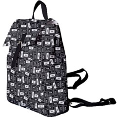 Tape Cassette 80s Retro Genx Pattern Black And White Buckle Everyday Backpack by snek