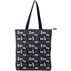 Tape Cassette 80s Retro Genx Pattern Black And White Double Zip Up Tote Bag by snek