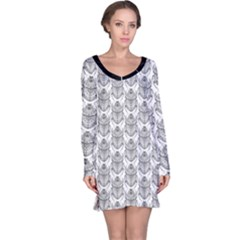 Scarab Pattern Egyptian Mythology Black And White Long Sleeve Nightdress by genx