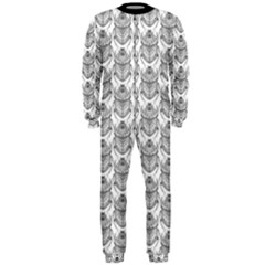 Scarab Pattern Egyptian Mythology Black And White Onepiece Jumpsuit (men)  by genx