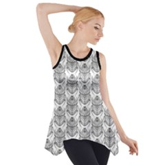 Scarab Pattern Egyptian Mythology Black And White Side Drop Tank Tunic by genx