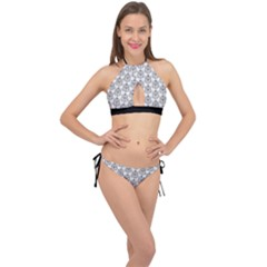 Scarab Pattern Egyptian Mythology Black And White Cross Front Halter Bikini Set by genx