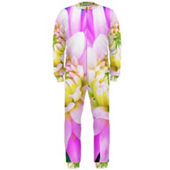 Pretty Pink, White And Yellow Cactus Dahlia Macro Onepiece Jumpsuit (men)  by myrubiogarden