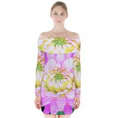 Pretty Pink, White And Yellow Cactus Dahlia Macro Long Sleeve Off Shoulder Dress by myrubiogarden
