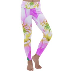 Pretty Pink, White And Yellow Cactus Dahlia Macro Kids  Lightweight Velour Classic Yoga Leggings
