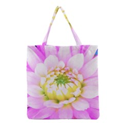 Pretty Pink, White And Yellow Cactus Dahlia Macro Grocery Tote Bag by myrubiogarden