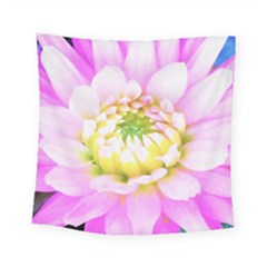 Pretty Pink, White And Yellow Cactus Dahlia Macro Square Tapestry (small) by myrubiogarden