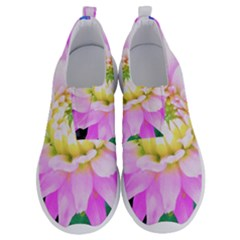 Pretty Pink, White And Yellow Cactus Dahlia Macro No Lace Lightweight Shoes by myrubiogarden