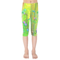 Hot Pink Abstract Rose Of Sharon On Bright Yellow Kids  Capri Leggings  by myrubiogarden