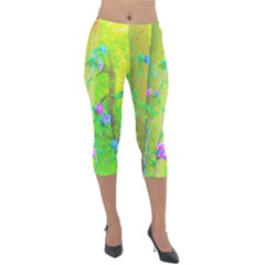 Hot Pink Abstract Rose Of Sharon On Bright Yellow Lightweight Velour Capri Leggings