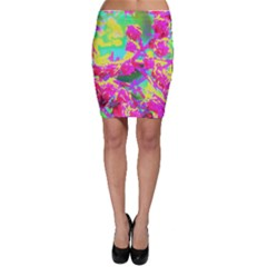 Psychedelic Succulent Sedum Turquoise And Yellow Bodycon Skirt