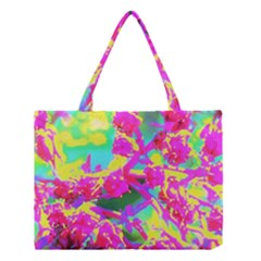 Psychedelic Succulent Sedum Turquoise And Yellow Medium Tote Bag