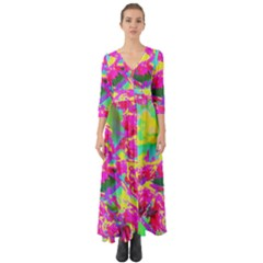 Psychedelic Succulent Sedum Turquoise And Yellow Button Up Boho Maxi Dress
