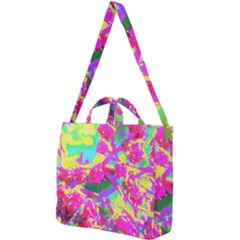 Psychedelic Succulent Sedum Turquoise And Yellow Square Shoulder Tote Bag by myrubiogarden
