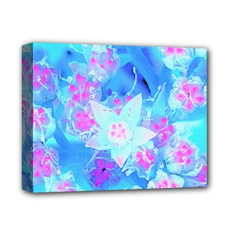 Blue And Hot Pink Succulent Underwater Sedum Deluxe Canvas 14  X 11  (stretched) by myrubiogarden