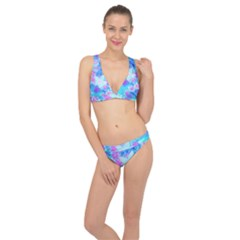 Blue And Hot Pink Succulent Underwater Sedum Classic Banded Bikini Set