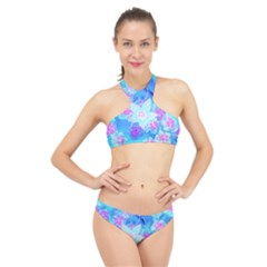 Blue And Hot Pink Succulent Underwater Sedum High Neck Bikini Set
