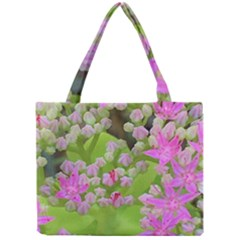 Hot Pink Succulent Sedum With Fleshy Green Leaves Mini Tote Bag by myrubiogarden