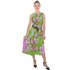 Hot Pink Succulent Sedum With Fleshy Green Leaves Midi Tie Back Chiffon Dress