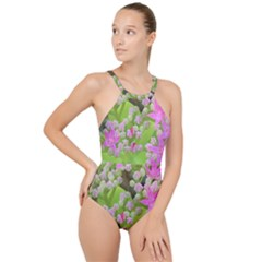Hot Pink Succulent Sedum With Fleshy Green Leaves High Neck One Piece Swimsuit