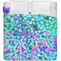 Blue And Hot Pink Succulent Sedum Flowers Detail Duvet Cover Double Side (king Size) by myrubiogarden