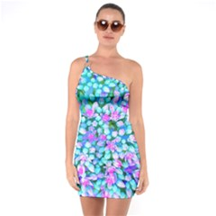 Blue And Hot Pink Succulent Sedum Flowers Detail One Soulder Bodycon Dress